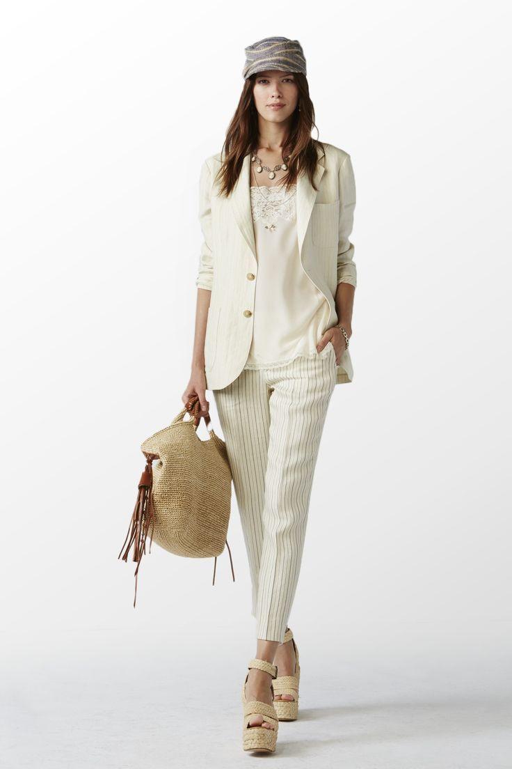 collection polo pour femmes printemps 2015 veste en lin ray e cr me bleu clair caraco en soie. Black Bedroom Furniture Sets. Home Design Ideas