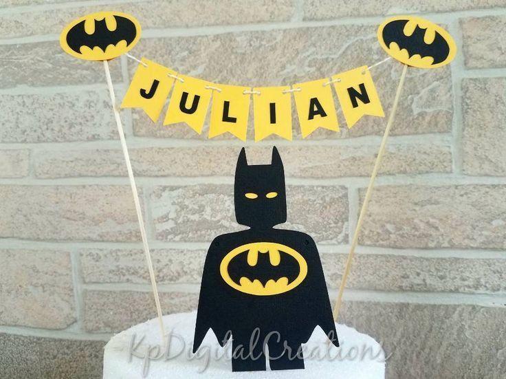 Personalised Batgirl birthday bunting cake topper superhero justice league