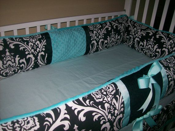 Black damask and tiffany blue 4 piece baby by babydesignsbyelm 229