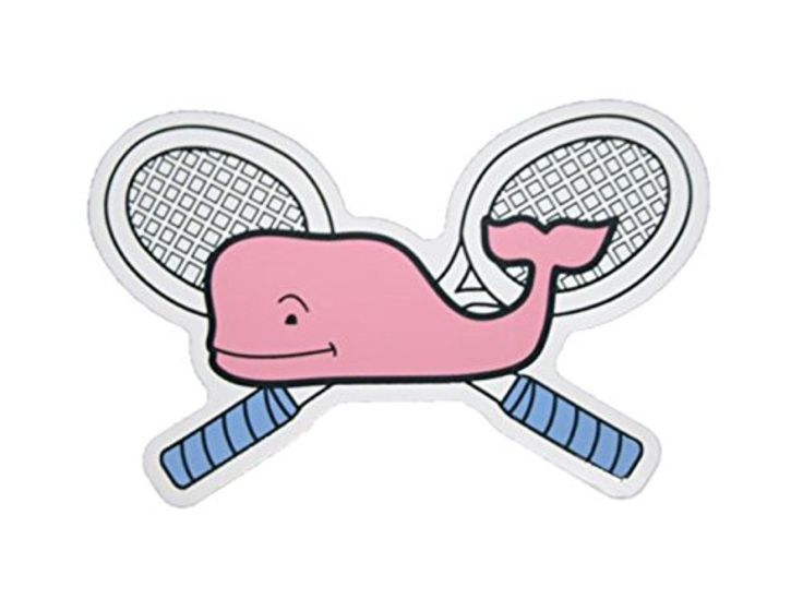 Vineyard Vines Tennis Racquets Whale Vinyl Sticker Decal