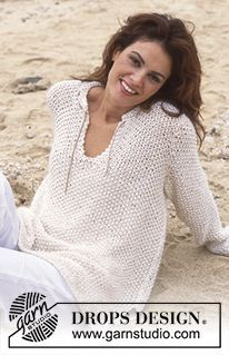 "Beach Belle - DROPS Langer Pulli in Perlmuster in 2 Fäden ""Cotton Viscose"" und 1 Faden ""Vivaldi"" gestrickt. - Free pattern by DROPS Design"