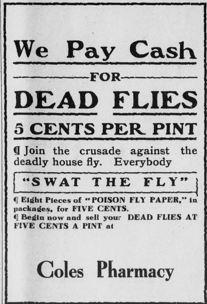 Mansfield Advertiser, Mansfield, Penn., June 24, 1914. Will have to find out why they wanted flys at a pharmacy....