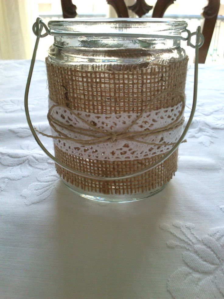 Mason Jar Lantern with Burlap, Lace and Twine, for Decor at Home, Wedding, Baby Shower, and Other Special Occasions, Country/Rustic style. €6.00, via Etsy.