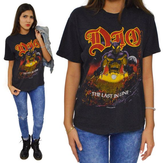 Vintage 80s dio the last in line heavy metal t shirt sz l for Fenster 80 x 90