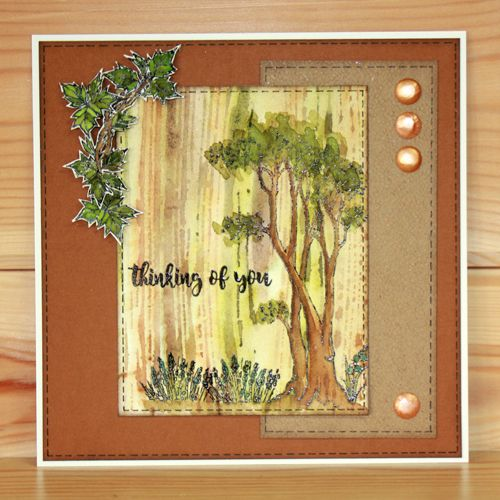 Bluebell Wood A5 stamp set designed by Sharon Bennett for Hobby Art Stamps. This stunning clear set consists of 27 clear stamps. Card by Kim Reygate