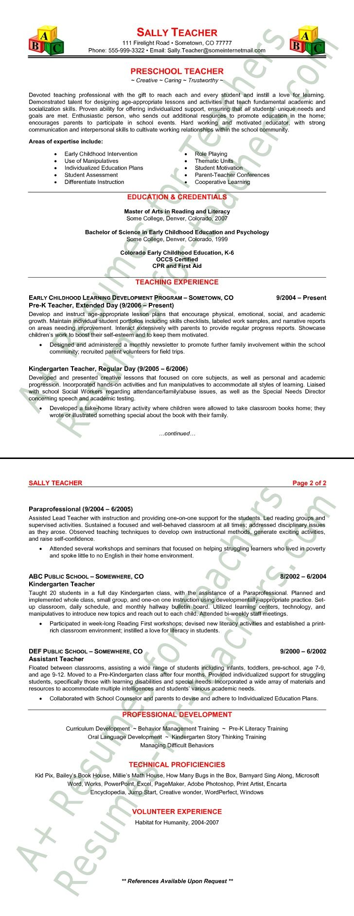 Sample Teaching Resumes For Preschool | Preschool Teacher Resume Sample
