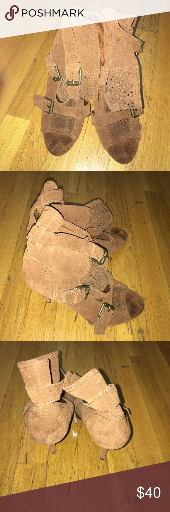 Steven suede peep toes booties Sz8.5 Good condition. Suede with buckles. Steven Shoes Ankle Boots & Booties