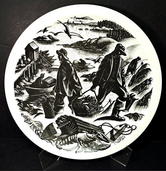 Lobstering Nautical Picture Plate Wedgwood Queen's by Mainetrader