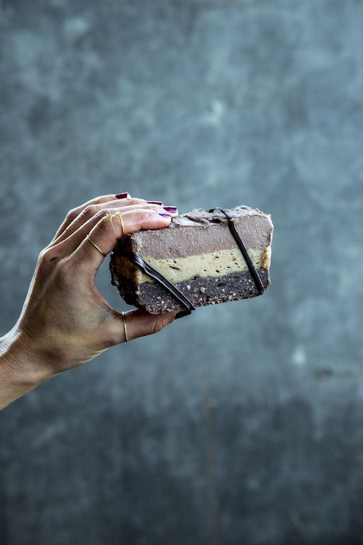 Triple Layer Choc Peanut Butter Slice #raw #vegan
