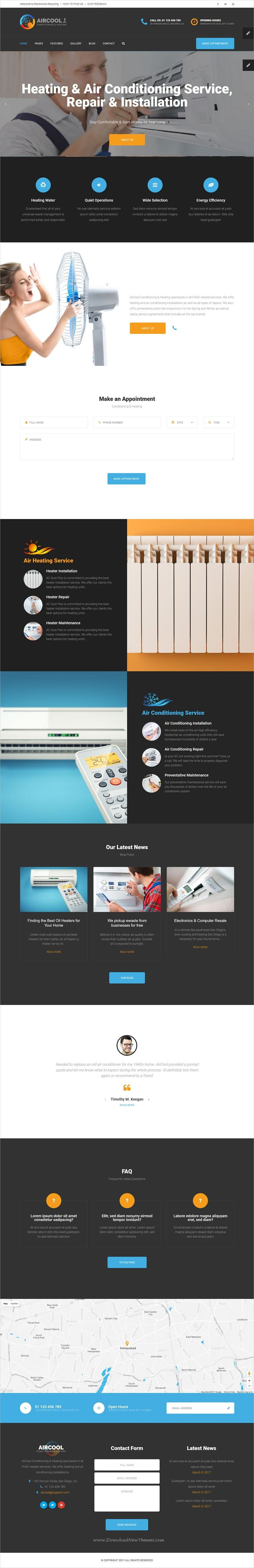 AirCool is clean and modern design responsive #HTML5 template for air #conditioning and heating #service companies website with visual builder and admin dashboard download now..