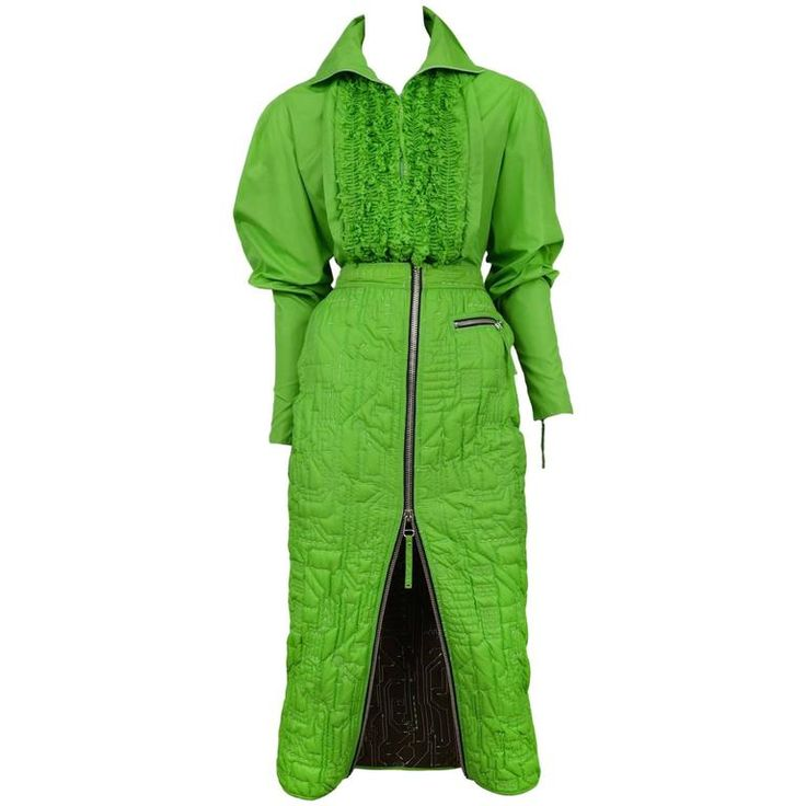 JeanPaul Gaultier Neon Green Quilted Ensemble 1995  | From a collection of rare vintage suits, outfits and ensembles at https://www.1stdibs.com/fashion/clothing/suits-outfits-ensembles/