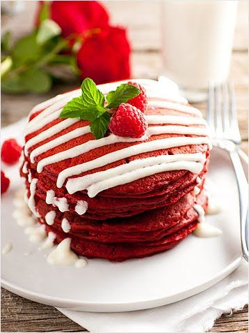 My husband loves Red Velevet, this shall come in handy → Red Velvet Pancakes and other red velvet recipes