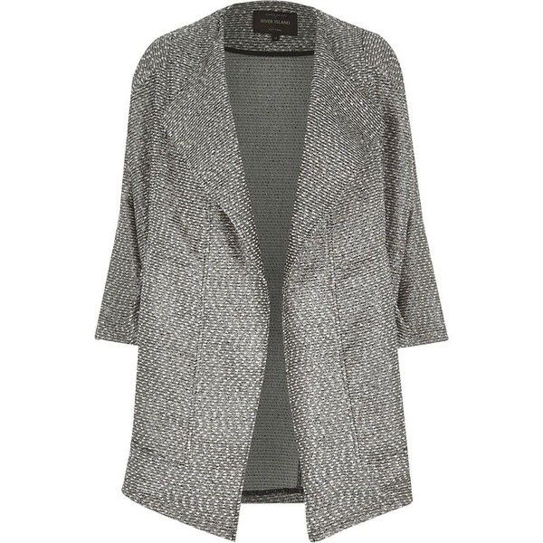 River Island Black metallic tweed boucle drape coat (2.155 RUB) ❤ liked on Polyvore featuring outerwear, coats, sale, tweed coats, river island, metallic coat, drape coat and boucle coats