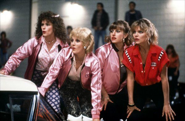 Michelle Pfeiffer, Lorna Luft, Alison Price, and Maureen Teefy in Grease 2 (1982)