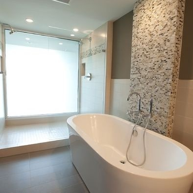 Double shower with large frosted window