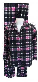 Black And Pink Plaid Fleece Pajama Set