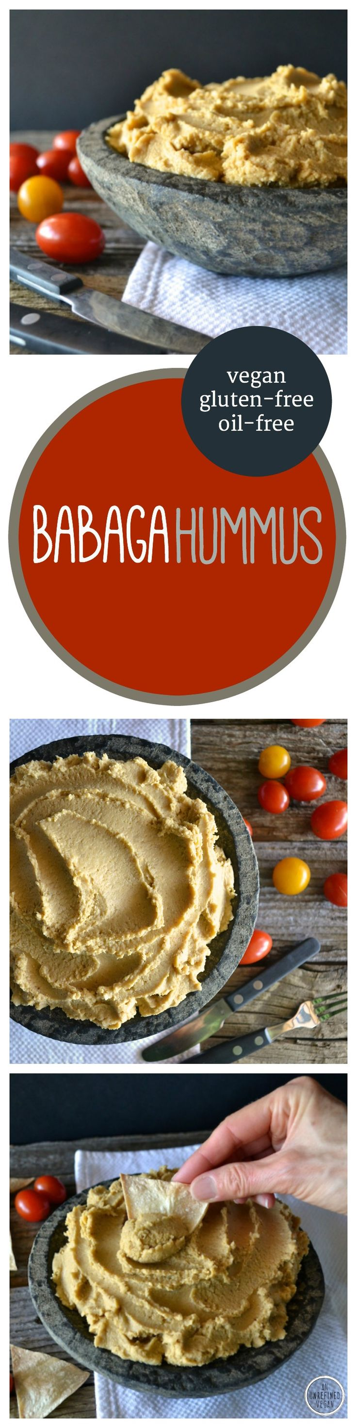 A vegan, gluten-free, oil-free hybrid of hummus and babaganoush. On An Unrefined Vegan.