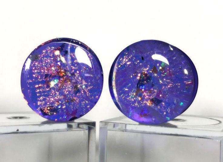 Purple Plugs, Ear Plugs Pair, Purple Gauges, Purple Sparkle Plugs, Purple Spacers, Ear Plug Jewelry, Gauge Jewelry by MantaBlast on Etsy