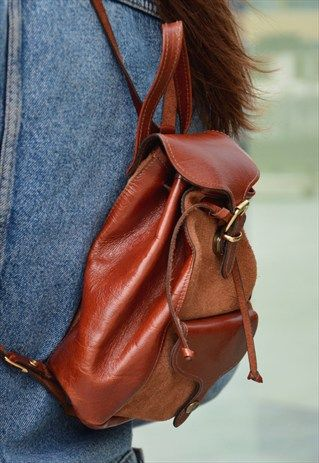 Vintage real leather brown backpack coachella