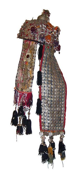 Afghanistan | Wedding headdress/hat; metal, fabric, glass beads, tassels | 20th century | Price on Request