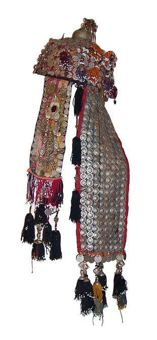 Afghanistan | Wedding headdress/hat; metal, fabric, glass beads, tassels | 20th century | Price on Request