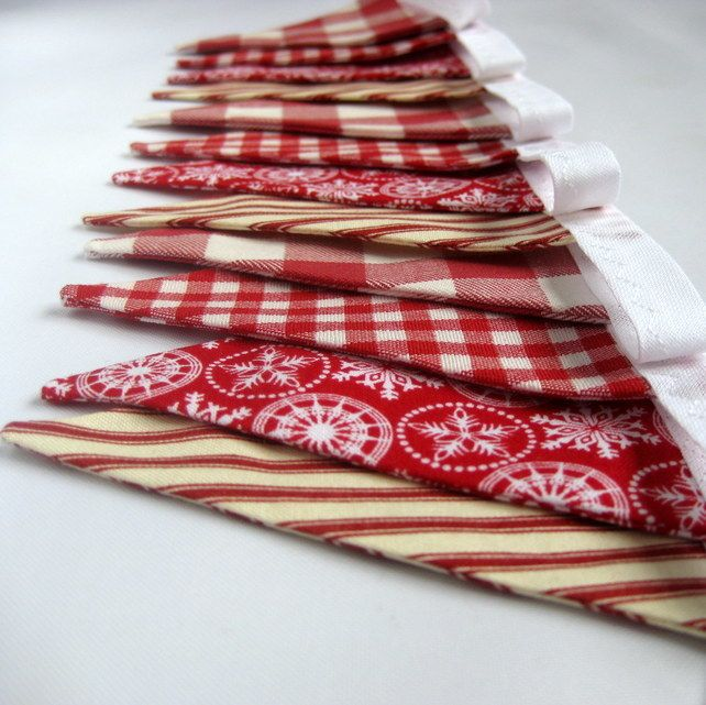 Scandinavian Style Christmas Bunting in Red and White £12.00