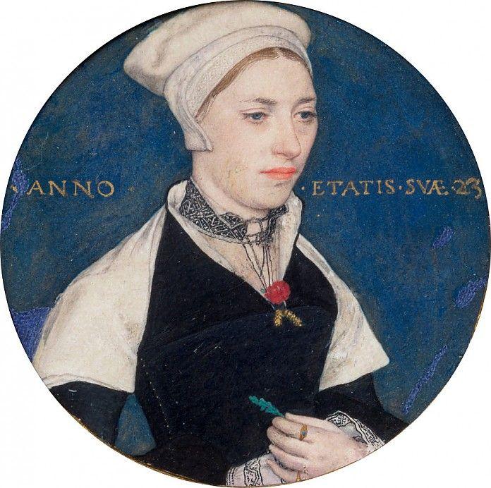 Hans Holbein, Portret van Mrs. Jane Small, ca. 1540,gouache op perkament, miniatuur, diameter 5.2 cm, Victoria and Albert Museum, Londen; Biografie Hans Holbein: http://www.artsalonholland.nl/biografie-kunstenaars/hans-holbein-de-jonge