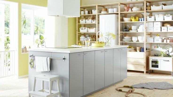 cuisine ikea design îlot central pas cher idée rangement cuisine hotte aspirante