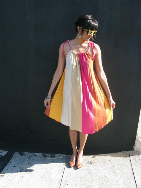 Drawstring Jumper Dress - no pattern required.  Great swimsuit cover-up!