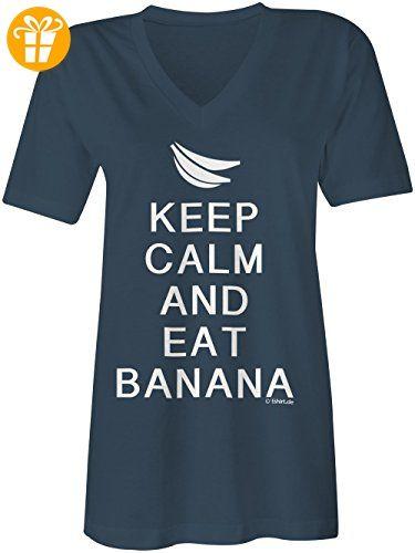 Trend KEEP CALM and eat Banana V Neck T Shirt Frauen Damen