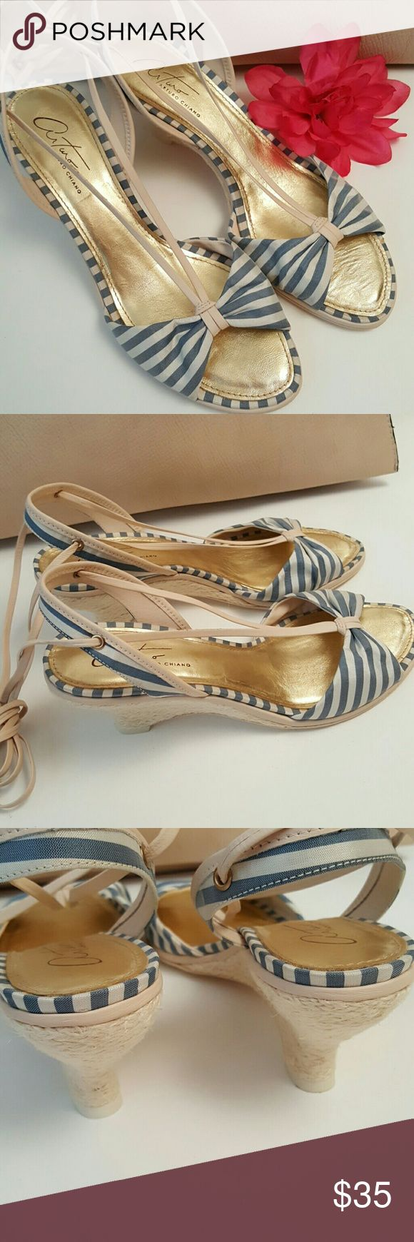 Arturo Chiang LaceUp Blue Stripe Wedge Sandles New without tags. A few marks on bottom from storage, but never worn. Blue stripe satin material. Leather sole. A very simple yet elegant shoe. Arturo Chiang Shoes Sandals