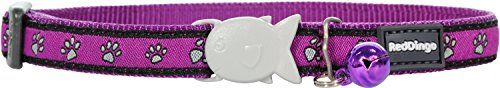 Red Dingo Designer Cat Collar, Purple Pawprints * Learn more by visiting the image link.