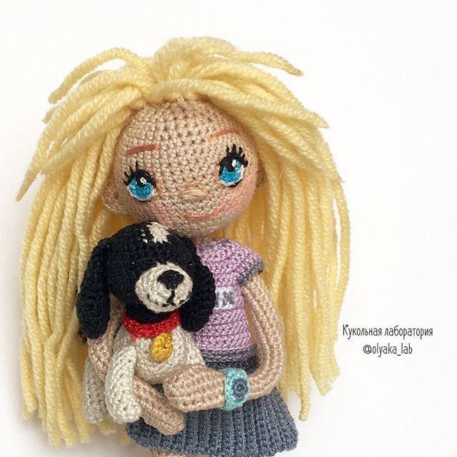 Amigurumi doll with her puppy.