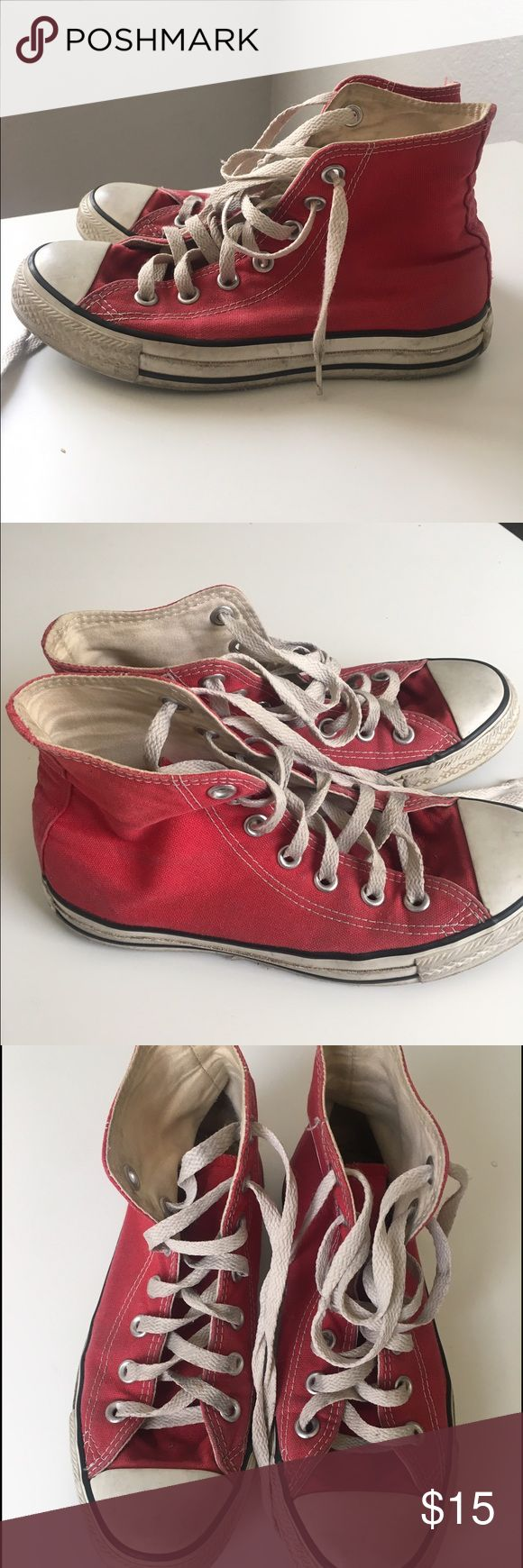 Red Converse These have been worn but have plenty of life left in them! :) Converse Shoes Sneakers