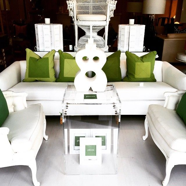 Delightful White Living Room Pieces With Green Accents. The Pieces Way!