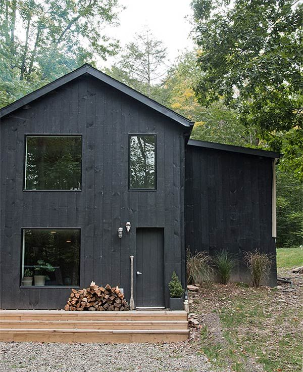 Black house with vertical siding. Black window frames.