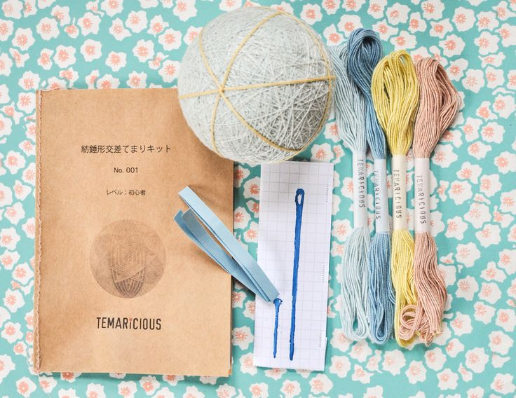 Kit contents :Instruction in English, 4 twists of stitching thread, temari needle, 2marker pins, measurement tape, temari ball with 6division