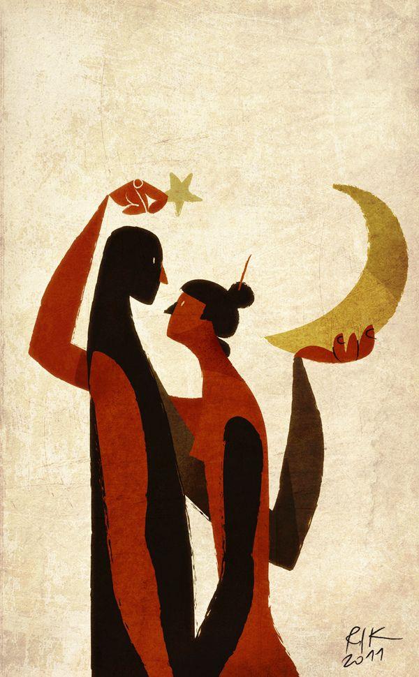 moon & star | illustration by Riccardo Guasco