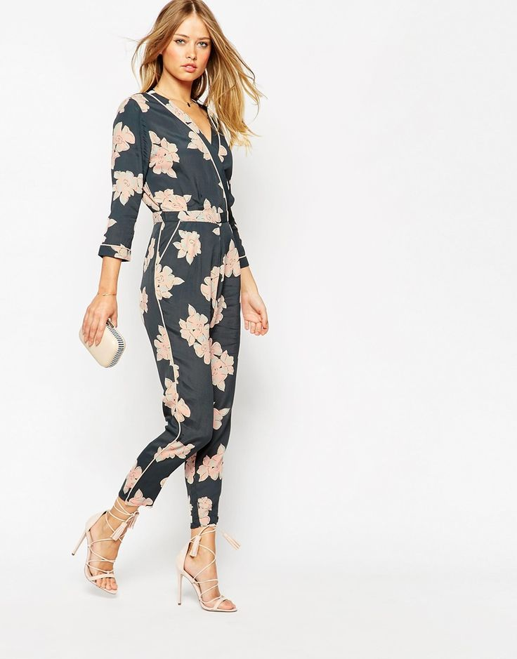Image 1 of ASOS Floral Printed Piped Wrap Jumpsuit