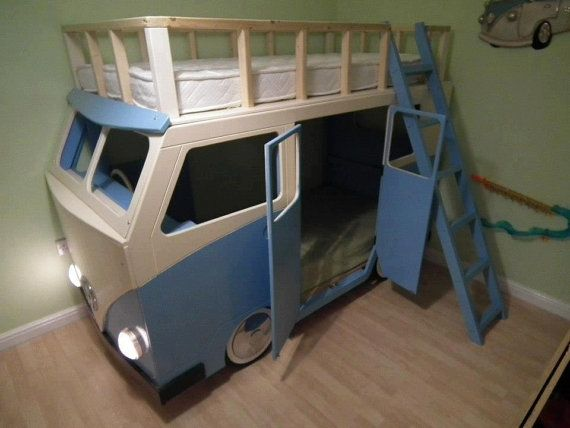 VW style campervan bunk bed by Dreamcraftfurniture on Etsy, £850.00  Too cute! They also have a Mystery Machine option.