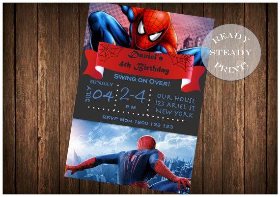 Spiderman Birthday Party Invitation Spiderman by ReadySteadyPrint