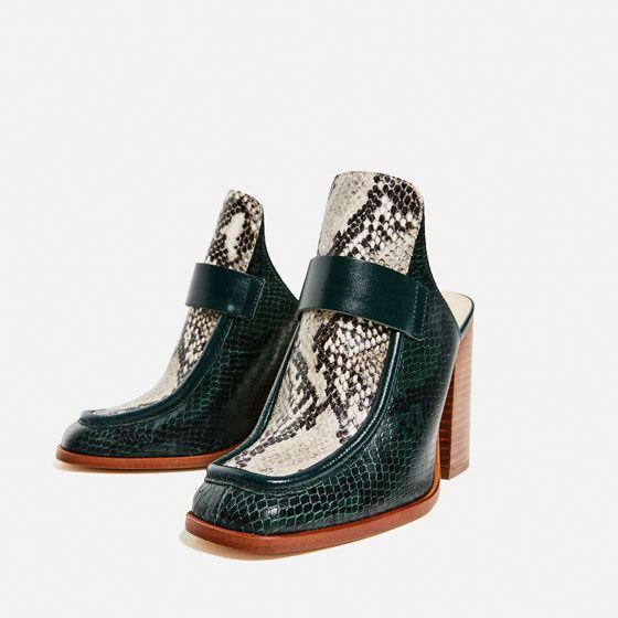 Image 4 of CONTRAST LEATHER HIGH HEEL MULES from Zara