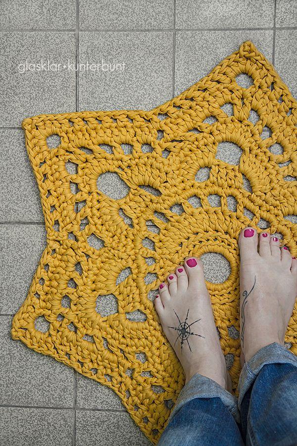 Crocheted star carpet