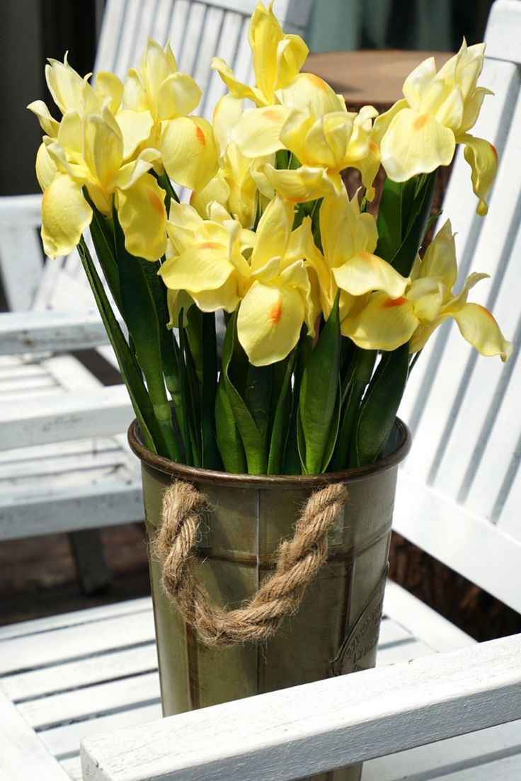 6 long stems iris yellow real touch artificial flower
