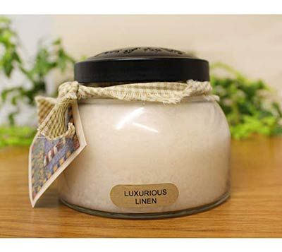Luxurious Linen Keepers of the Light Mama Jar Candle, by A Cheerful Giver.  Fragrance:  Warm linen fragrance of orange blossom, jasmine, cyclamen, herbal tea and smooth cedar wood.  Fresh and clean.  White color.  Special order.