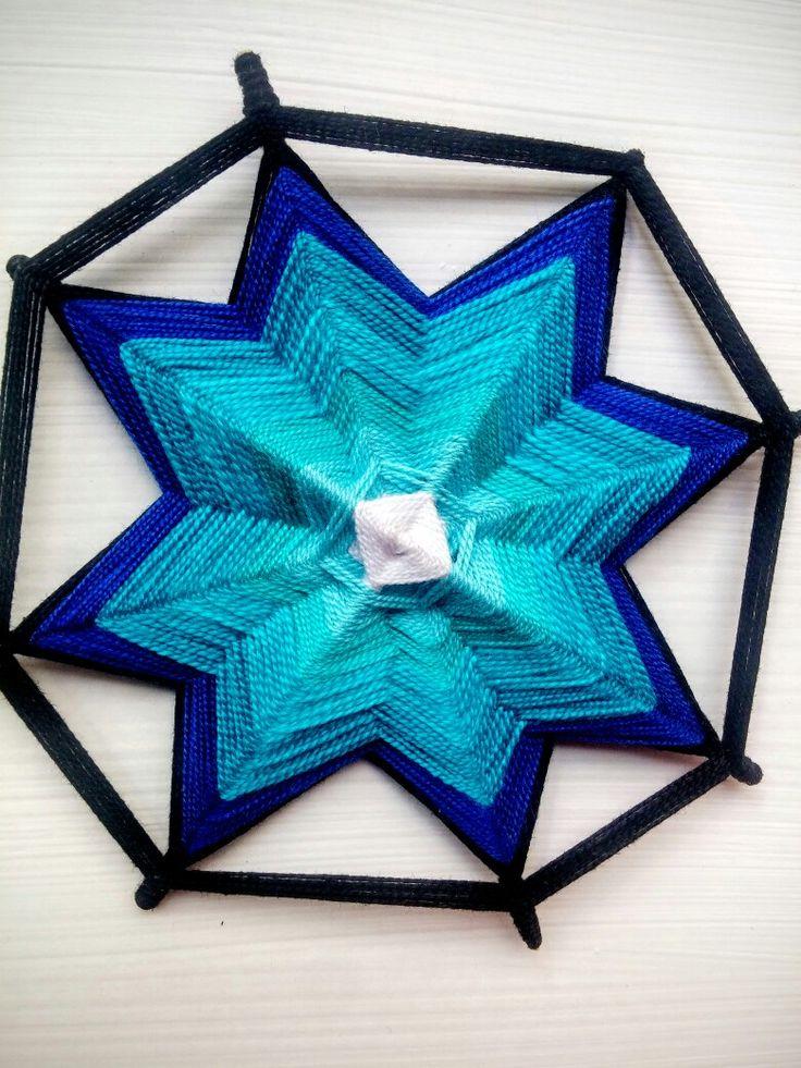 Ojo de dios, tonalidad azul (8 puntas)
