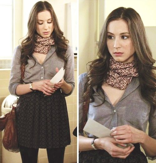 Spencer Hastings. Grey blouse. High waisted skirt. Patterned scarf. Vintage leather bag. Perfect casual outfit for college