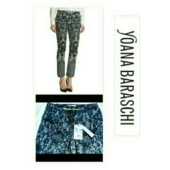 **NEW HP 10/20* GLAMOROUS YOANA BARASHCI PANTS Ru La La YOANA BARASCHI FOR ANTHROPOLOGIE  Black & White Lace Pants Silk & Viscose Size 4 Career Dressy or Casual! Anthropologie Pants