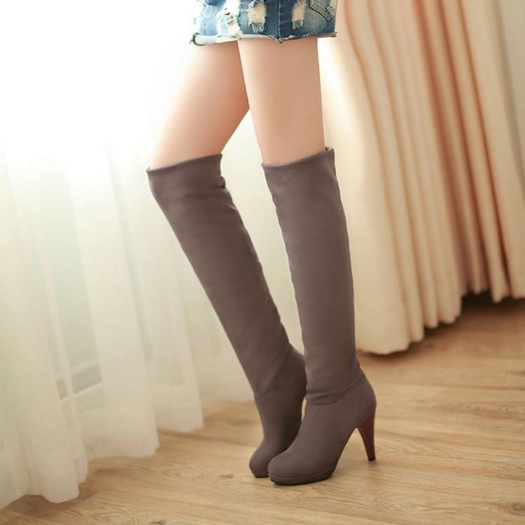 Woman Over The Knee Boots Stretch Knee High Boots High-Heeled Shoes Pumps
