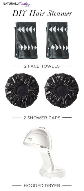 Do it yourself hair-steamer- 1. Place wet, not soaking, towel on hair. 2. Cover with shower cap. 3. Add second towel, then 2nd cap. Sit under dryer for at least 25 mins. Viola!